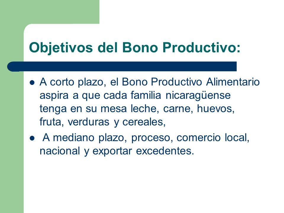 Objetivos del Bono Productivo: A corto plazo, el Bono Productivo Alimentario aspira a que cada familia nicaragüense tenga en su mesa leche, carne, hue