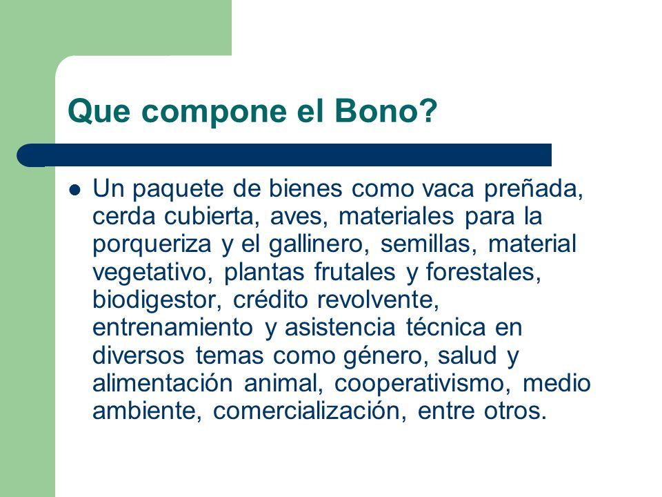 Que compone el Bono? Un paquete de bienes como vaca preñada, cerda cubierta, aves, materiales para la porqueriza y el gallinero, semillas, material ve
