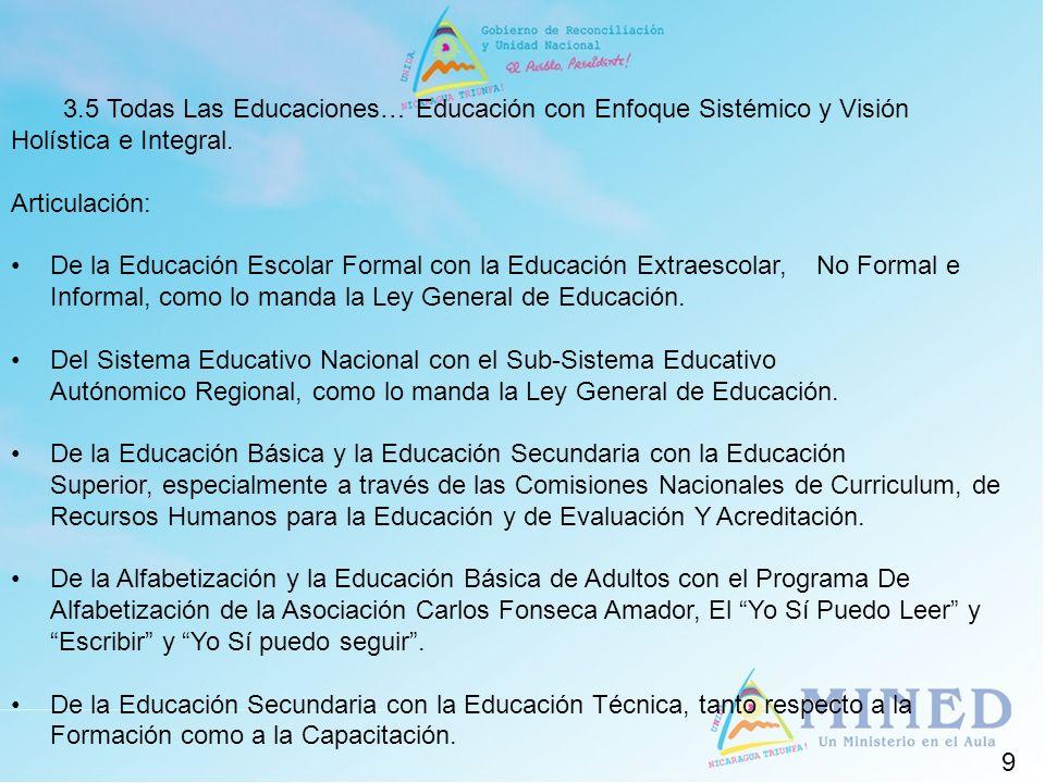 9 3.5 Todas Las Educaciones… Educación con Enfoque Sistémico y Visión Holística e Integral. Articulación: De la Educación Escolar Formal con la Educac
