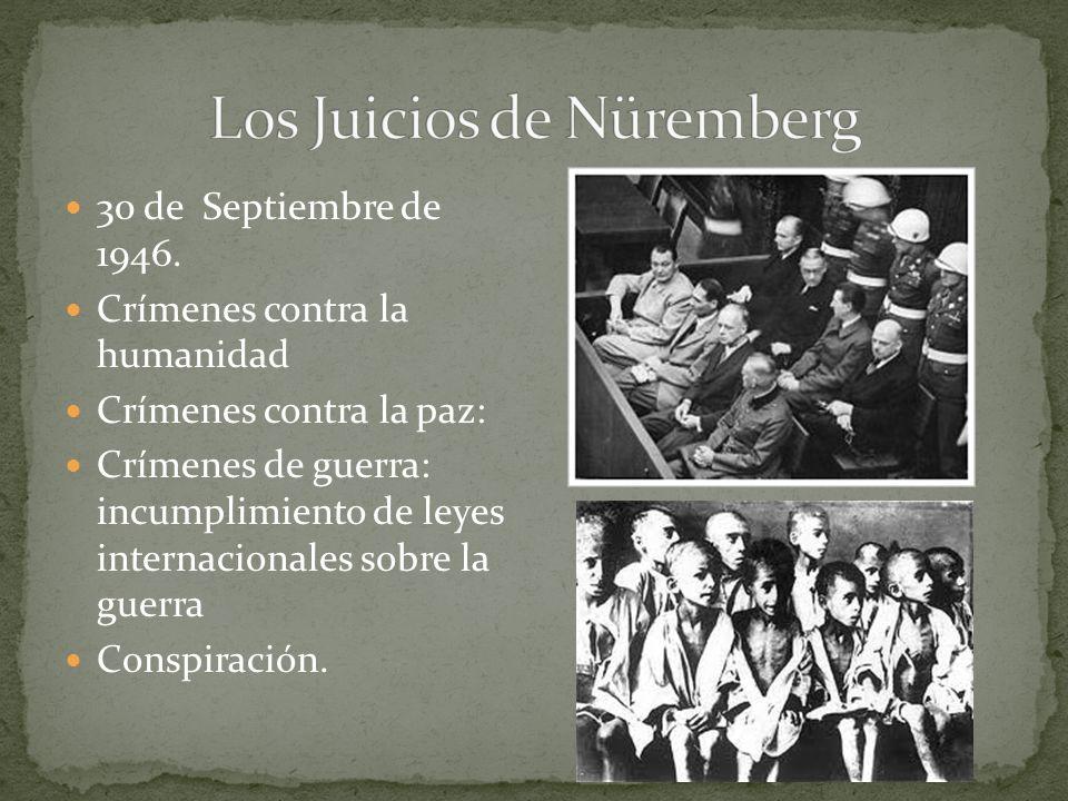 30 de Septiembre de 1946. Crímenes contra la humanidad Crímenes contra la paz: Crímenes de guerra: incumplimiento de leyes internacionales sobre la gu