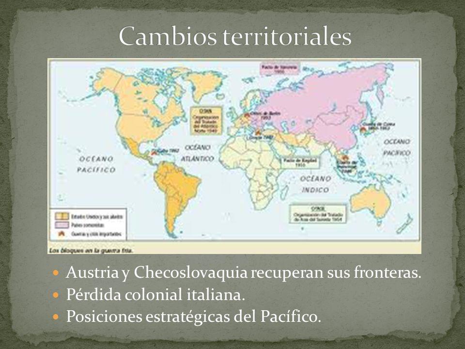 Austria y Checoslovaquia recuperan sus fronteras. Pérdida colonial italiana. Posiciones estratégicas del Pacífico.