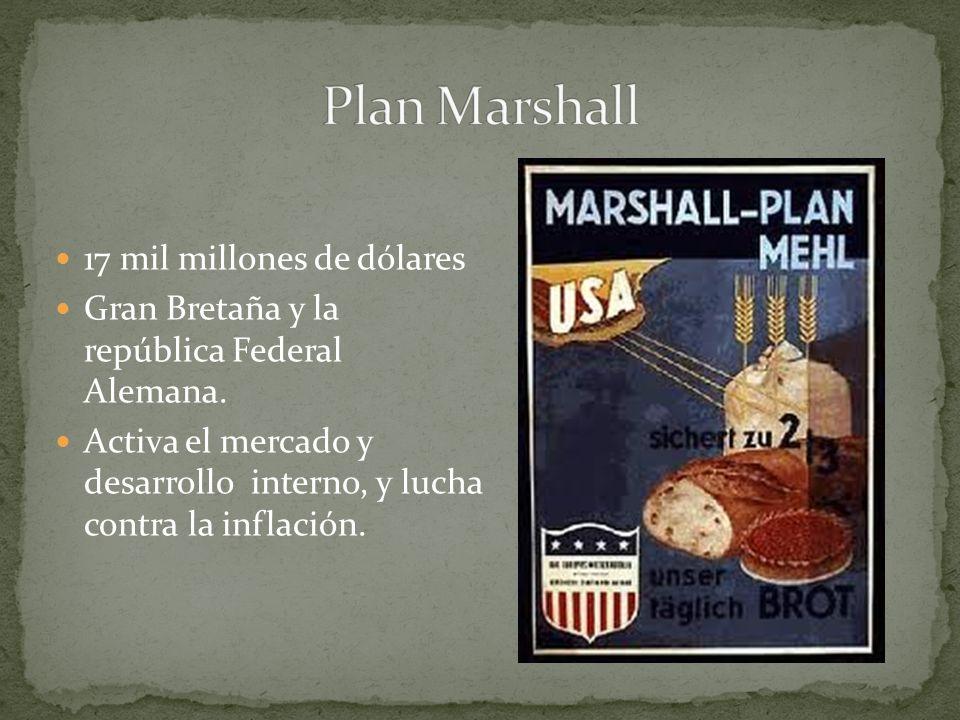 17 mil millones de dólares Gran Bretaña y la república Federal Alemana. Activa el mercado y desarrollo interno, y lucha contra la inflación.