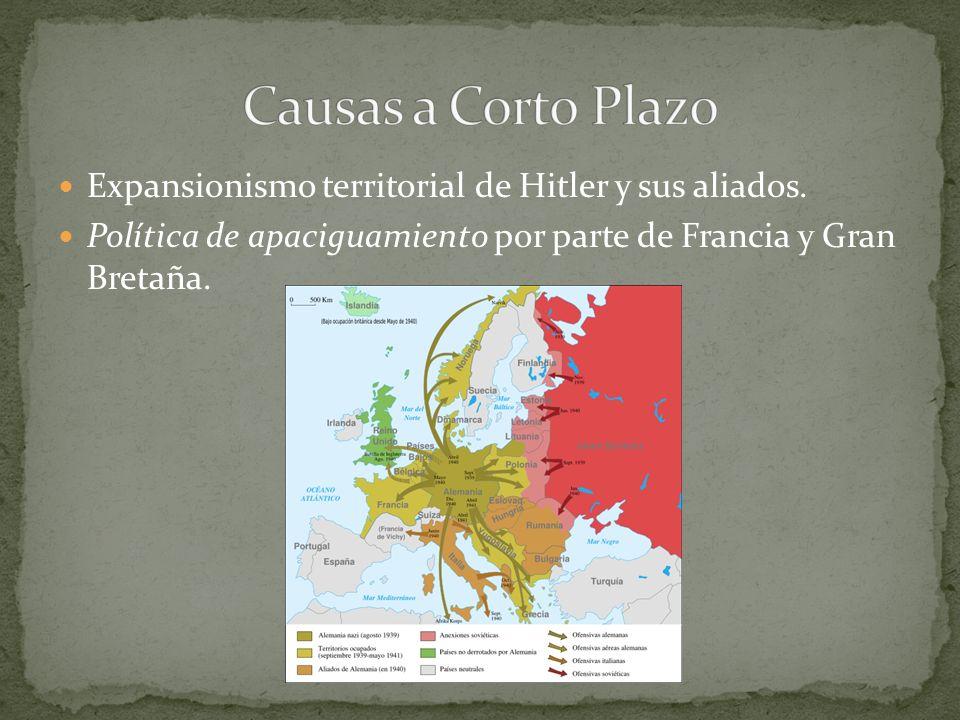 Expansionismo territorial de Hitler y sus aliados. Política de apaciguamiento por parte de Francia y Gran Bretaña.