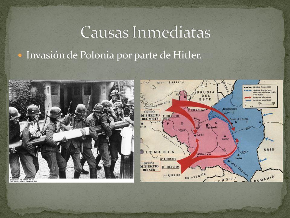 Invasión de Polonia por parte de Hitler.