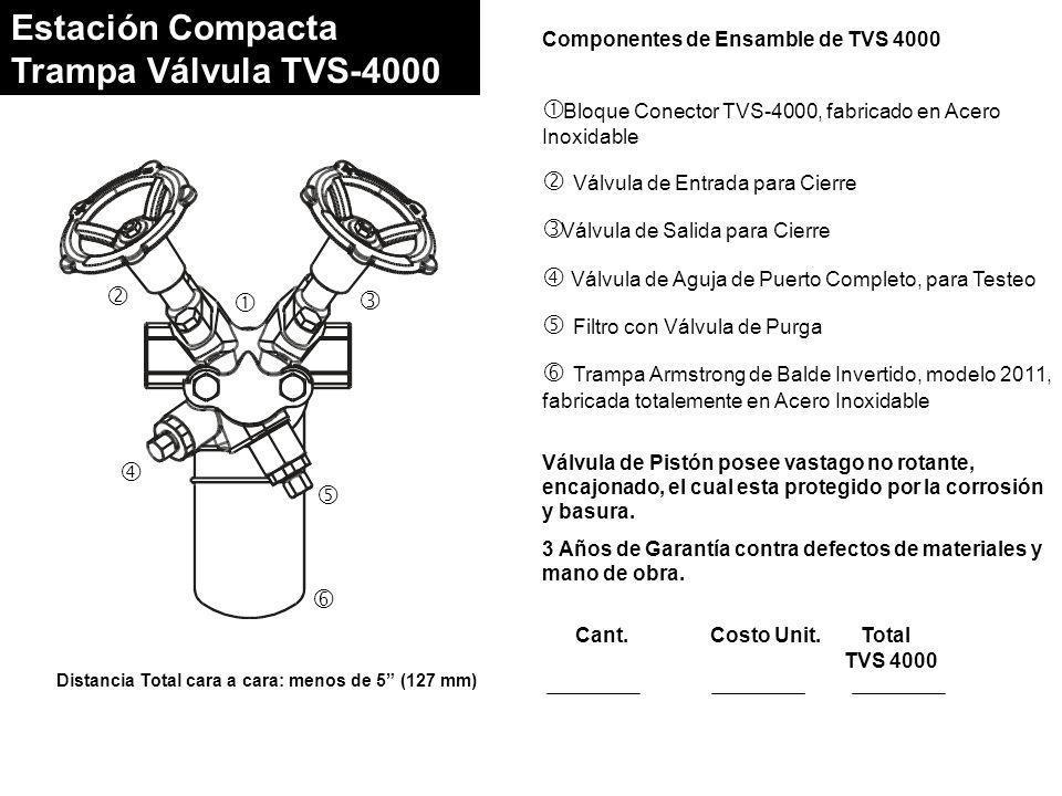 Estación Compacta Trampa Válvula TVS-4000 Distancia Total cara a cara: menos de 5 (127 mm) Componentes de Ensamble de TVS 4000 Bloque Conector TVS-4000, fabricado en Acero Inoxidable Válvula de Entrada para Cierre Válvula de Salida para Cierre Válvula de Aguja de Puerto Completo, para Testeo Filtro con Válvula de Purga Trampa Armstrong de Balde Invertido, modelo 2011, fabricada totalemente en Acero Inoxidable Válvula de Pistón posee vastago no rotante, encajonado, el cual esta protegido por la corrosión y basura.