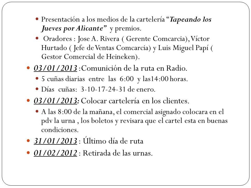 Presentación a los medios de la cartelería Tapeando los Jueves por Alicante y premios. Oradores : Jose A. Rivera ( Gerente Comcarcia), Víctor Hurtado