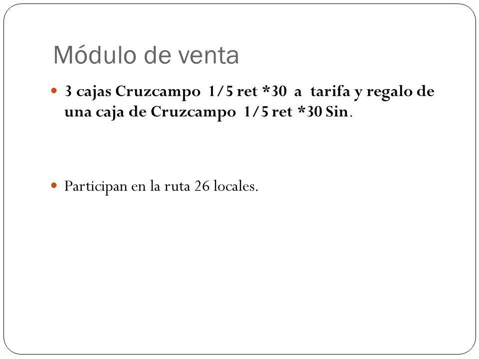 Módulo de venta 3 cajas Cruzcampo 1/5 ret *30 a tarifa y regalo de una caja de Cruzcampo 1/5 ret *30 Sin. Participan en la ruta 26 locales.