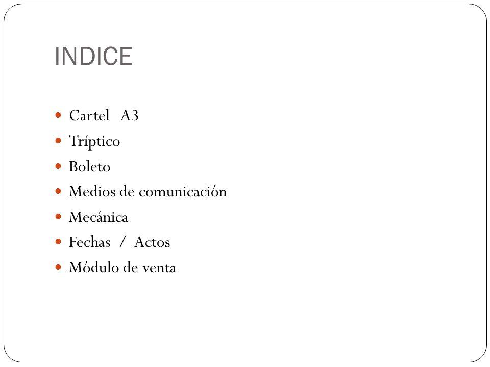 INDICE Cartel A3 Tríptico Boleto Medios de comunicación Mecánica Fechas / Actos Módulo de venta