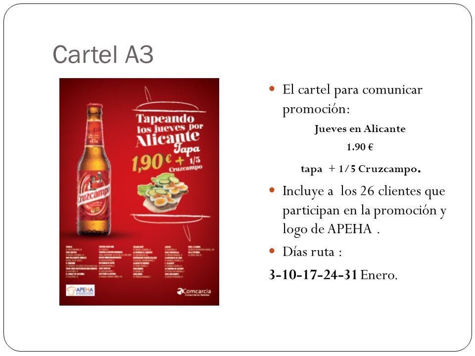 Cartel A3 El cartel para comunicar promoción: Jueves en Alicante 1.90 tapa + 1/5 Cruzcampo. Incluye a los 26 clientes que participan en la promoción y