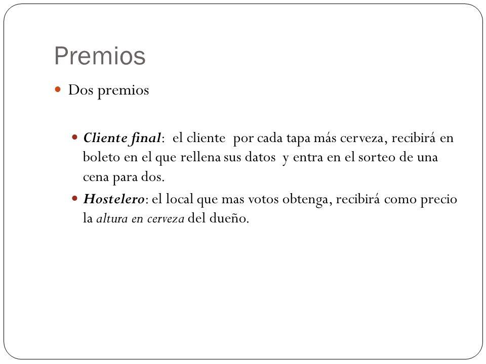 Premios Dos premios Cliente final: el cliente por cada tapa más cerveza, recibirá en boleto en el que rellena sus datos y entra en el sorteo de una ce