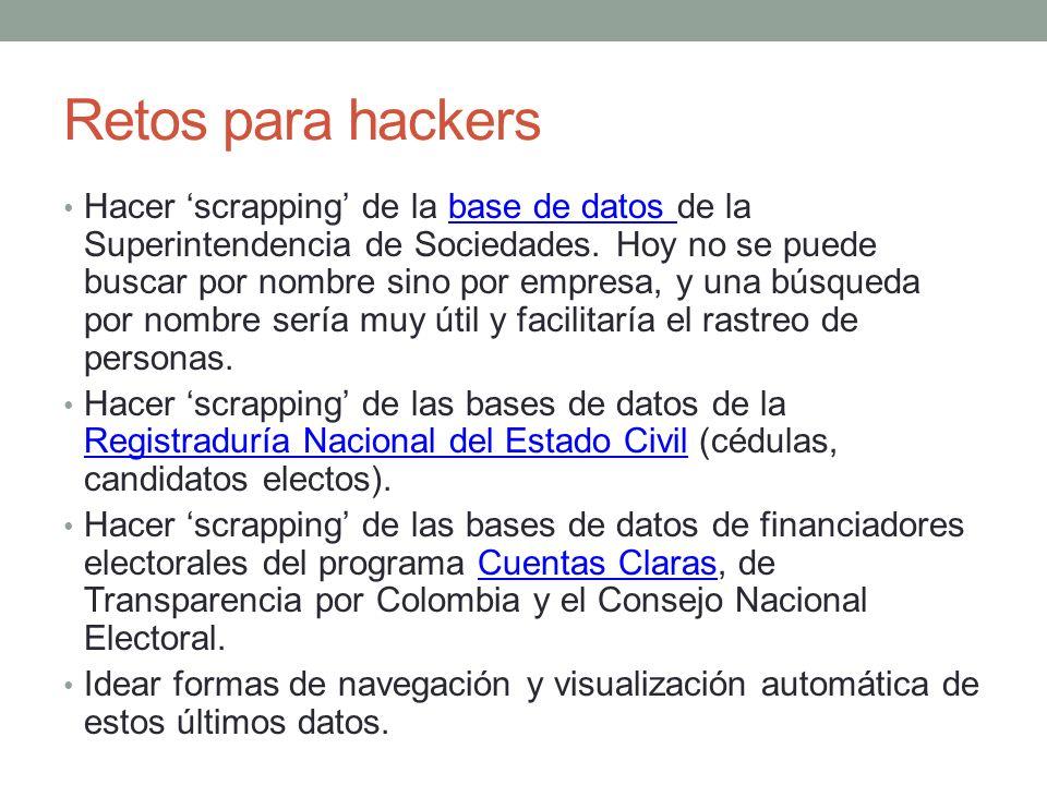 Retos para hackers Hacer scrapping de la base de datos de la Superintendencia de Sociedades. Hoy no se puede buscar por nombre sino por empresa, y una