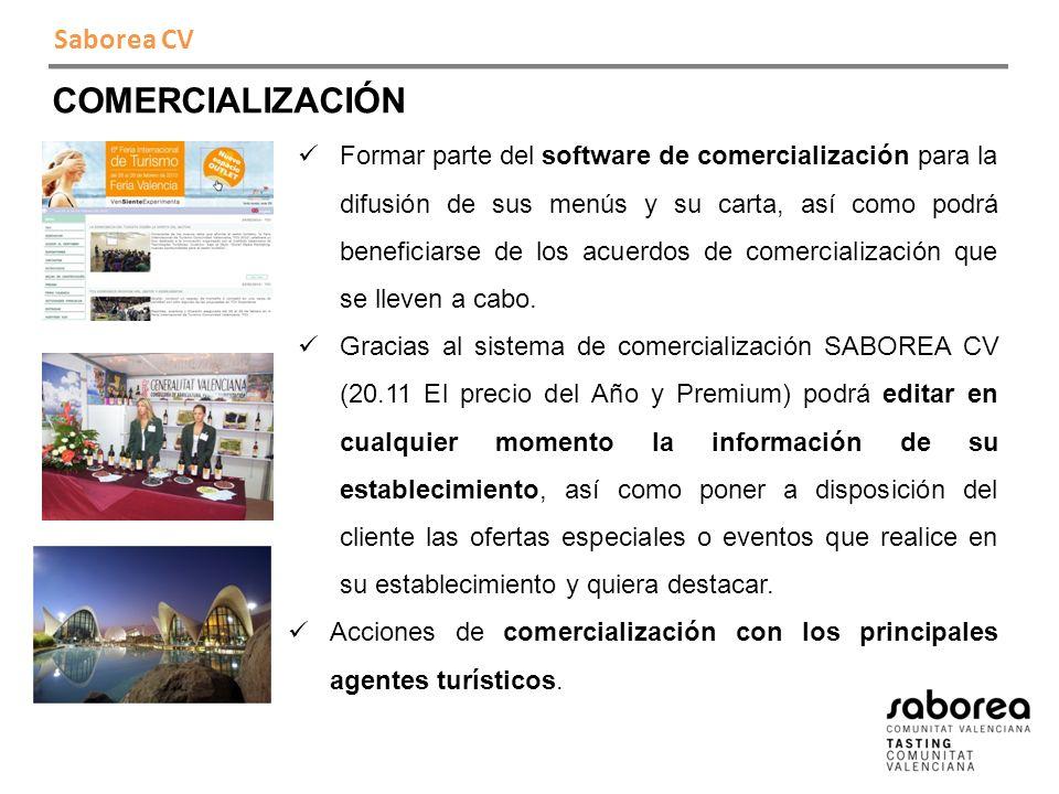 Saborea CV COMERCIALIZACIÓN Formar parte del software de comercialización para la difusión de sus menús y su carta, así como podrá beneficiarse de los acuerdos de comercialización que se lleven a cabo.