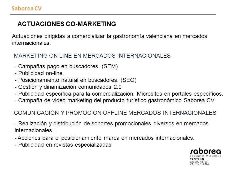 Saborea CV ACTUACIONES CO-MARKETING Actuaciones dirigidas a comercializar la gastronomía valenciana en mercados internacionales.