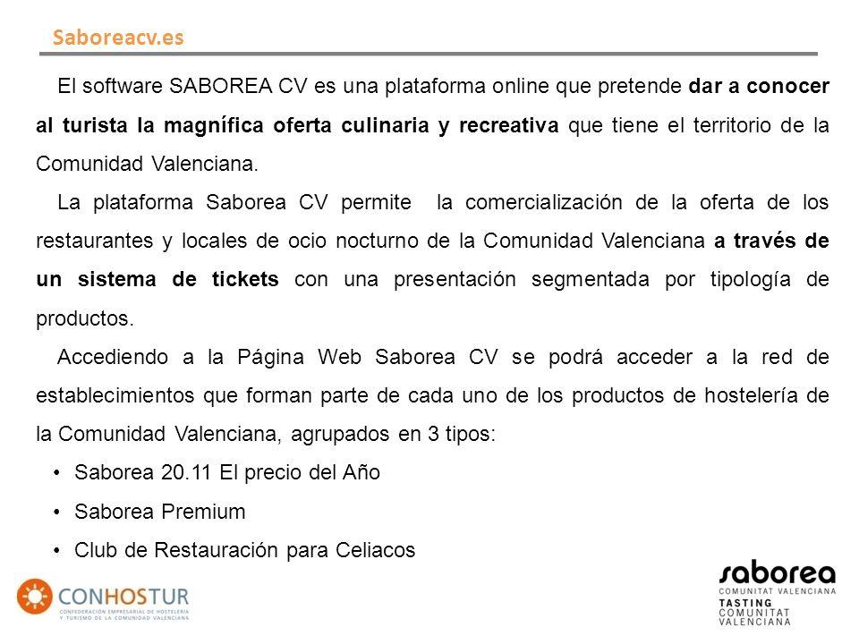 El software SABOREA CV es una plataforma online que pretende dar a conocer al turista la magnífica oferta culinaria y recreativa que tiene el territorio de la Comunidad Valenciana.