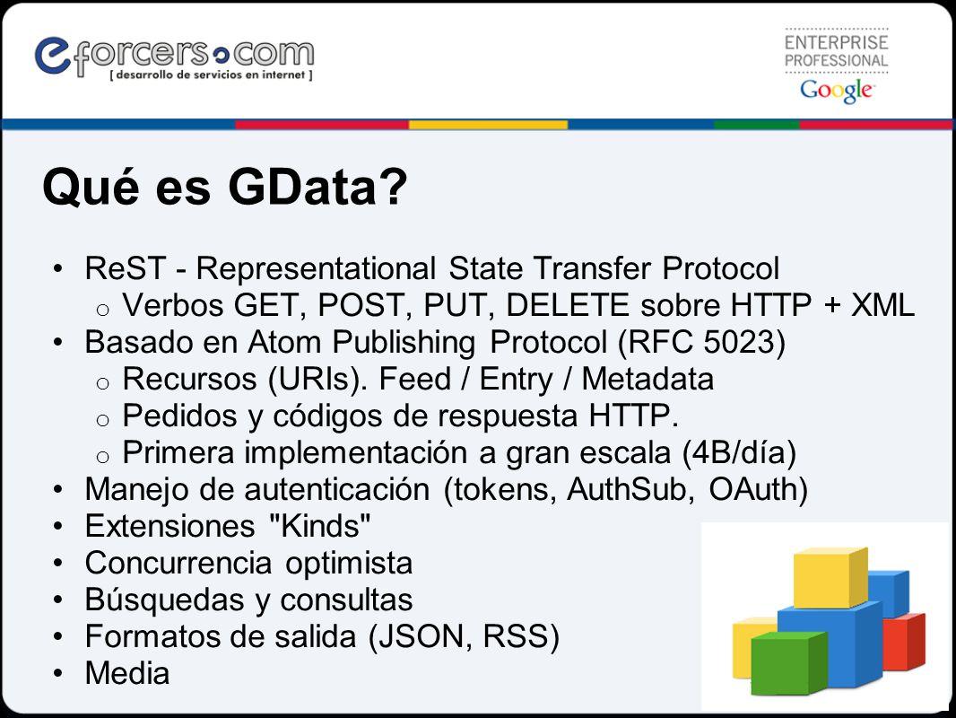 Qué es GData? ReST - Representational State Transfer Protocol o Verbos GET, POST, PUT, DELETE sobre HTTP + XML Basado en Atom Publishing Protocol (RFC