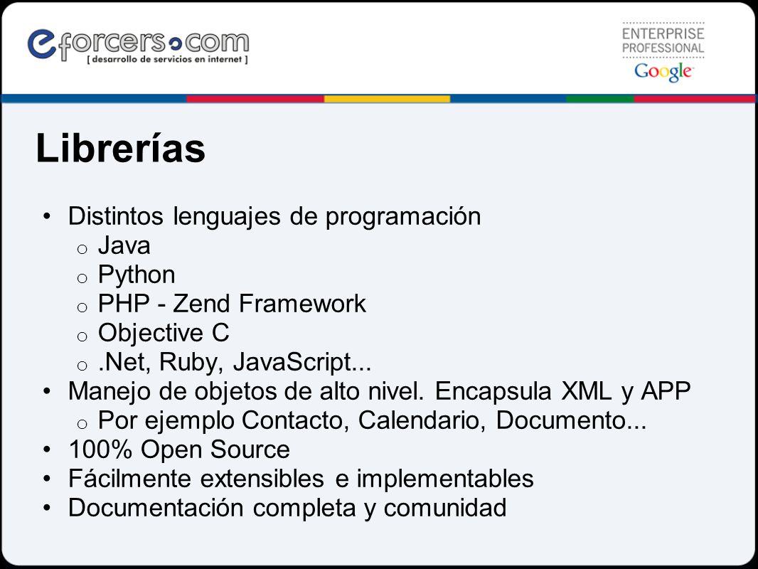 Librerías Distintos lenguajes de programación o Java o Python o PHP - Zend Framework o Objective C o.Net, Ruby, JavaScript... Manejo de objetos de alt