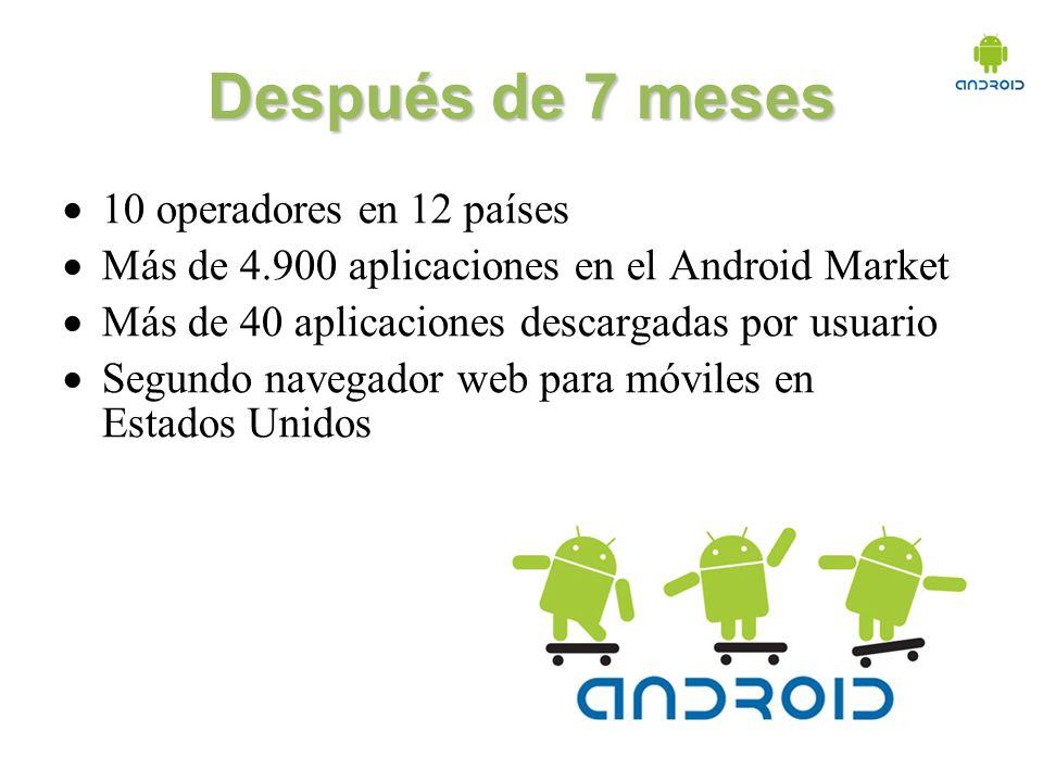 Después de 7 meses 10 operadores en 12 países Más de 4.900 aplicaciones en el Android Market Más de 40 aplicaciones descargadas por usuario Segundo navegador web para móviles en Estados Unidos