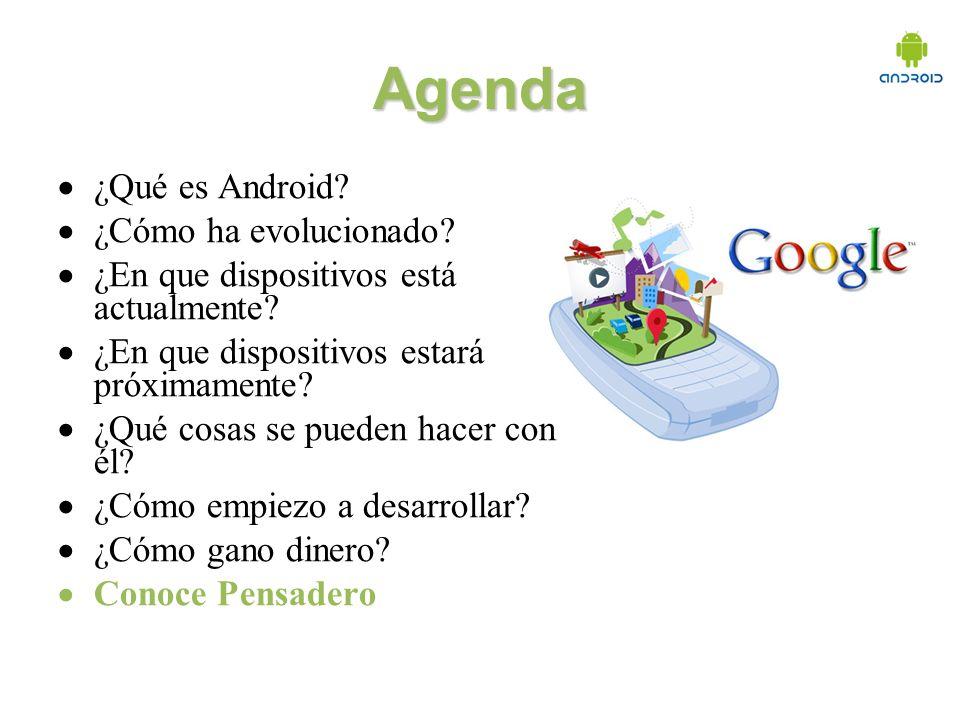 Agenda ¿Qué es Android. ¿Cómo ha evolucionado. ¿En que dispositivos está actualmente.