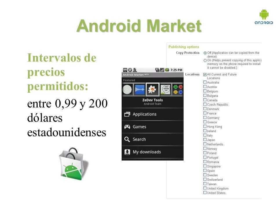 Android Market Intervalos de precios permitidos: entre 0,99 y 200 dólares estadounidenses