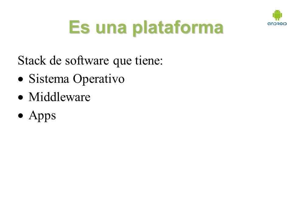 Es una plataforma Stack de software que tiene: Sistema Operativo Middleware Apps