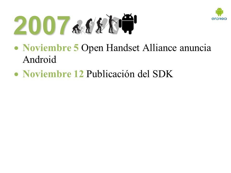 2007 Noviembre 5 Open Handset Alliance anuncia Android Noviembre 12 Publicación del SDK