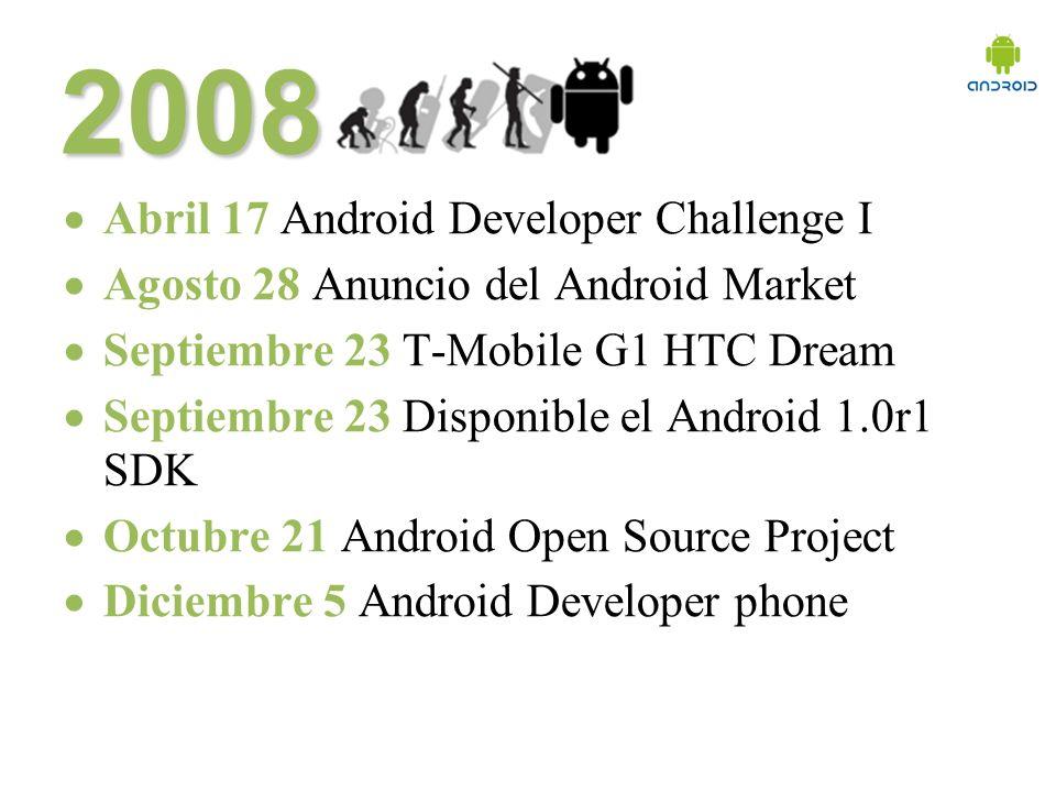 2008 Abril 17 Android Developer Challenge I Agosto 28 Anuncio del Android Market Septiembre 23 T-Mobile G1 HTC Dream Septiembre 23 Disponible el Android 1.0r1 SDK Octubre 21 Android Open Source Project Diciembre 5 Android Developer phone