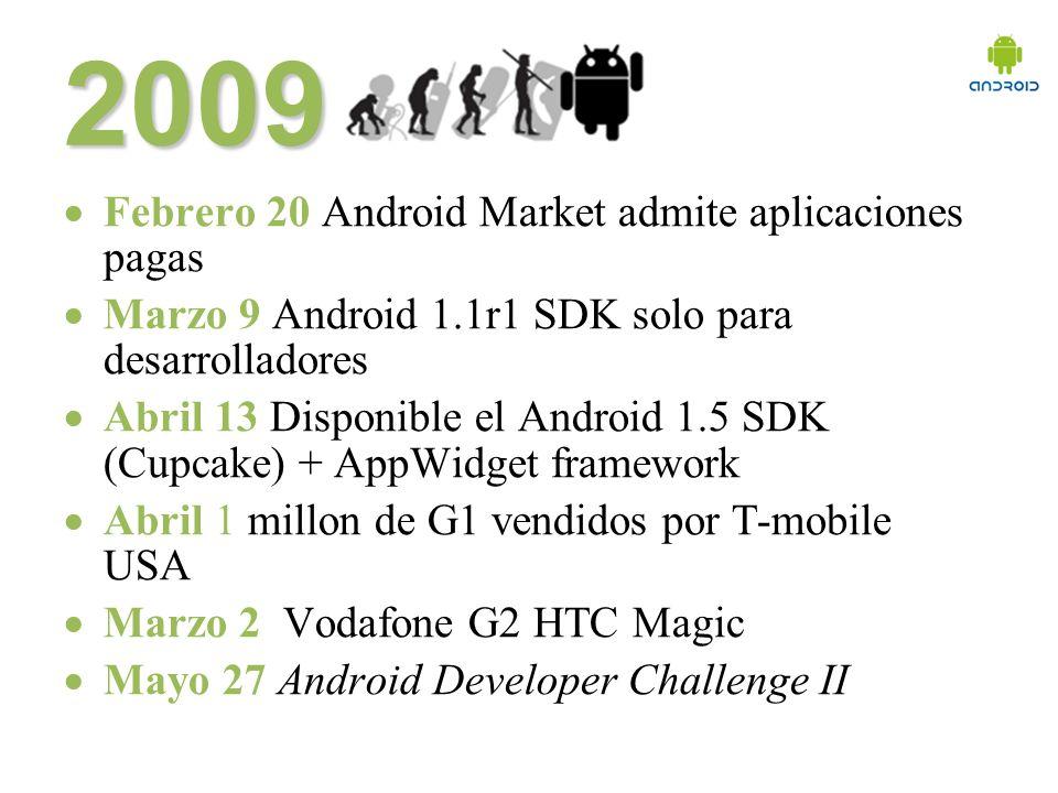 Éste mes Junio 24 Vodafone HTC Hero (soporte para flash, sense UI, zoom multi touch) Junio 24 Google Adsense for mobile apps para android Junio 25 Android 1.5 NDK release