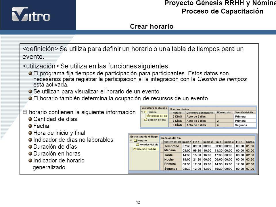 Proyecto Génesis RRHH y Nóminas Proceso de Capacitación 12 Se utiliza para definir un horario o una tabla de tiempos para un evento. Se utiliza en las