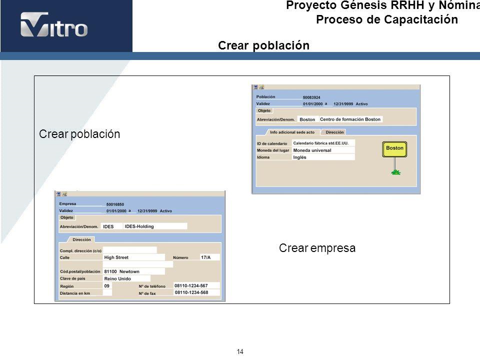 Proyecto Génesis RRHH y Nóminas Proceso de Capacitación 14 Crear población Crear empresa Crear población