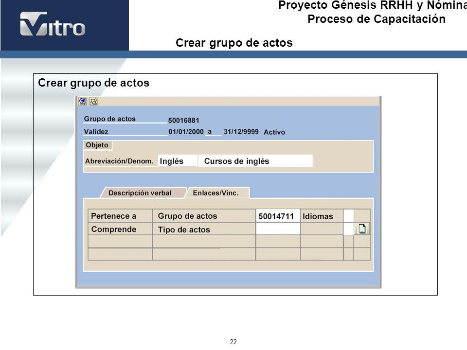 Proyecto Génesis RRHH y Nóminas Proceso de Capacitación 22 Crear grupo de actos