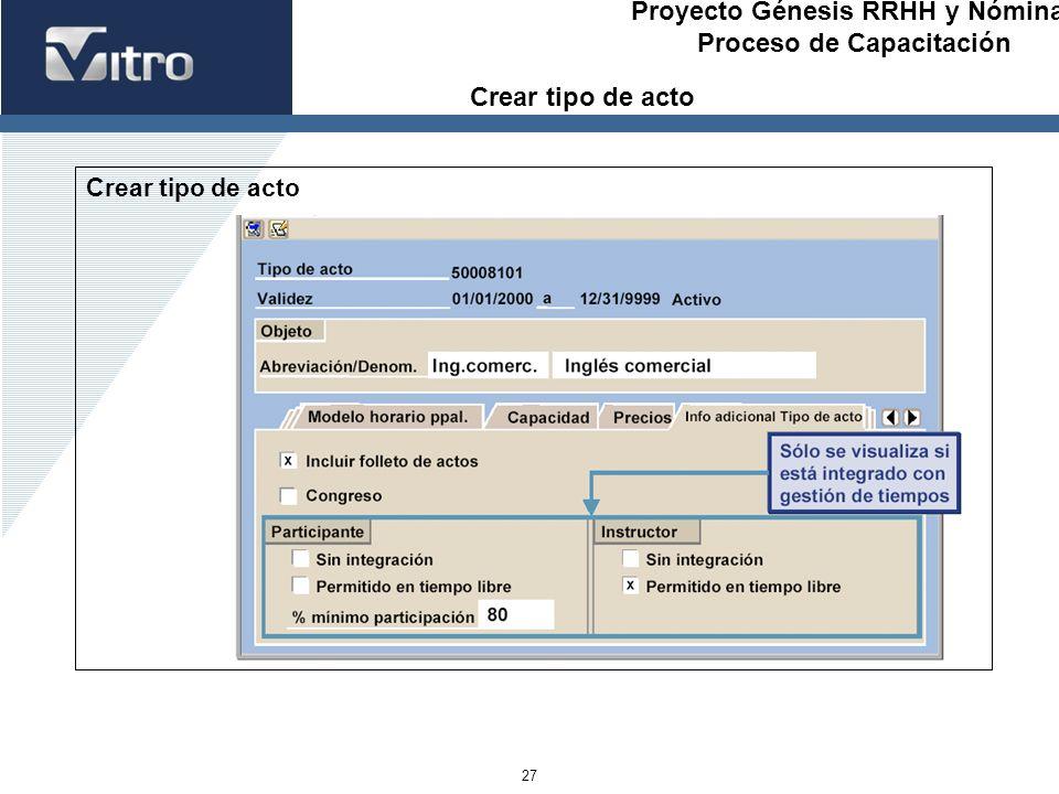 Proyecto Génesis RRHH y Nóminas Proceso de Capacitación 27 Crear tipo de acto