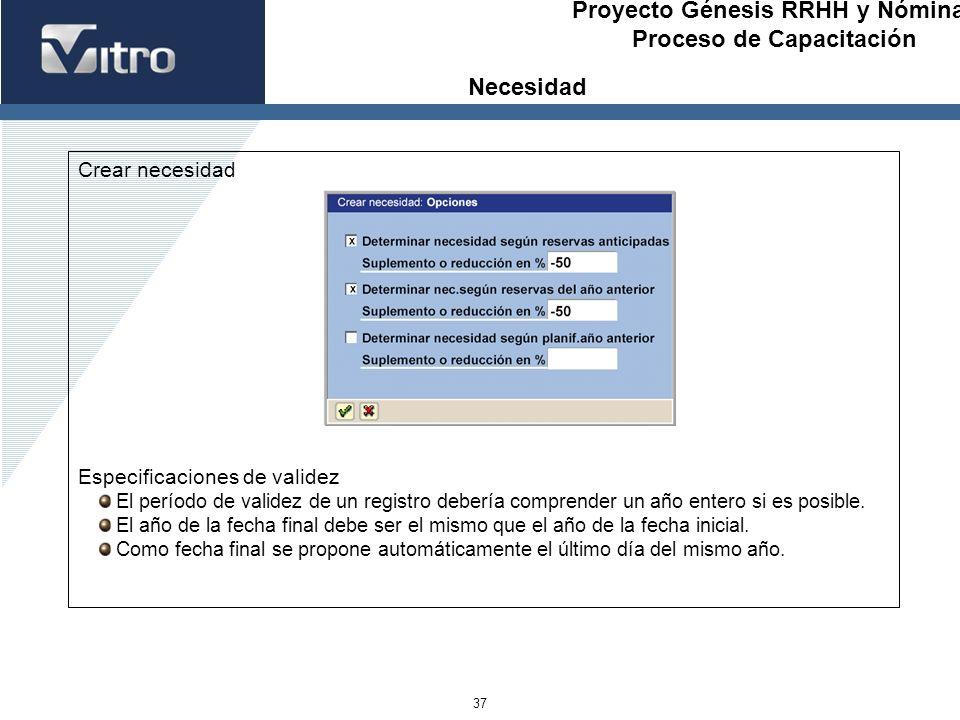 Proyecto Génesis RRHH y Nóminas Proceso de Capacitación 37 Crear necesidad Especificaciones de validez El período de validez de un registro debería co