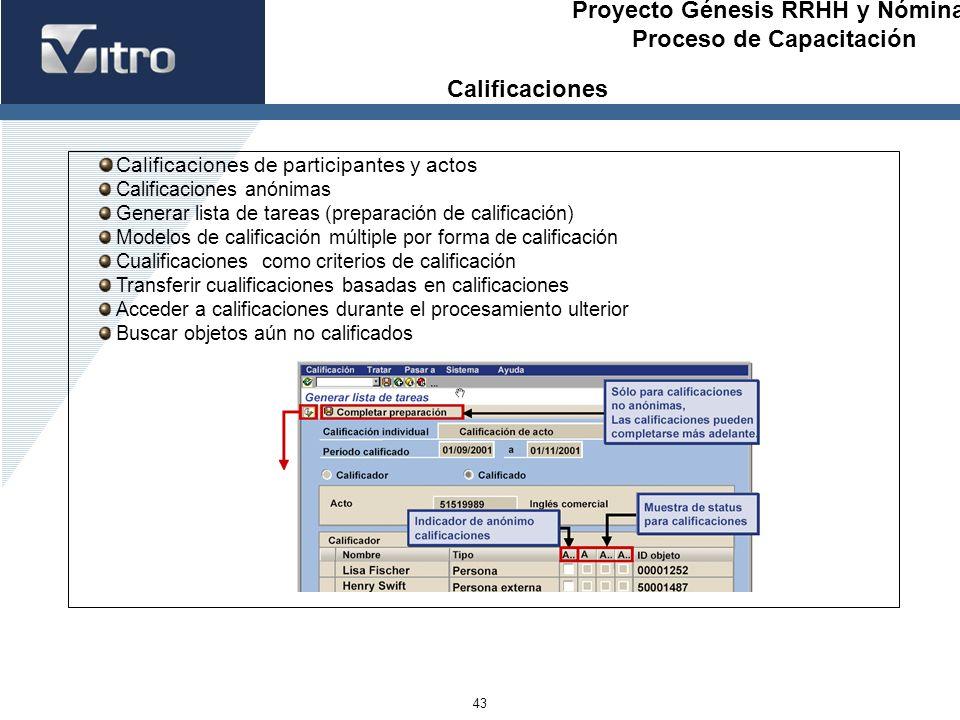 Proyecto Génesis RRHH y Nóminas Proceso de Capacitación 43 Calificaciones de participantes y actos Calificaciones anónimas Generar lista de tareas (pr