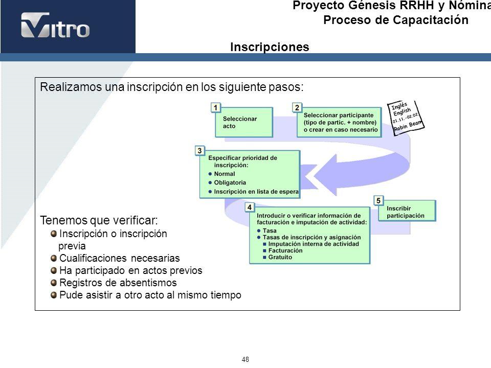 Proyecto Génesis RRHH y Nóminas Proceso de Capacitación 48 Realizamos una inscripción en los siguiente pasos: Tenemos que verificar: Inscripción o ins