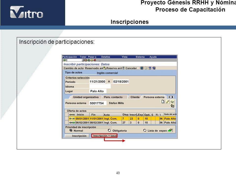 Proyecto Génesis RRHH y Nóminas Proceso de Capacitación 49 Inscripción de participaciones: Inscripciones