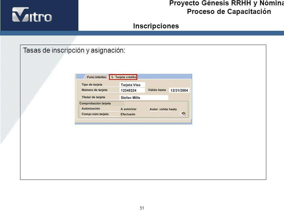 Proyecto Génesis RRHH y Nóminas Proceso de Capacitación 51 Tasas de inscripción y asignación: Inscripciones