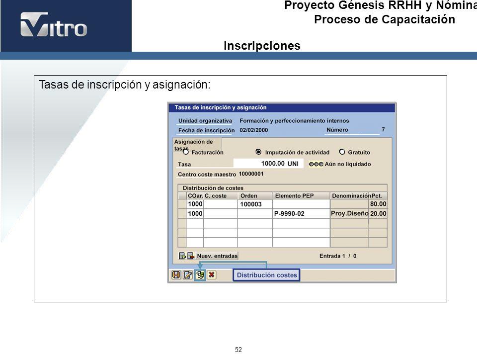 Proyecto Génesis RRHH y Nóminas Proceso de Capacitación 52 Tasas de inscripción y asignación: Inscripciones
