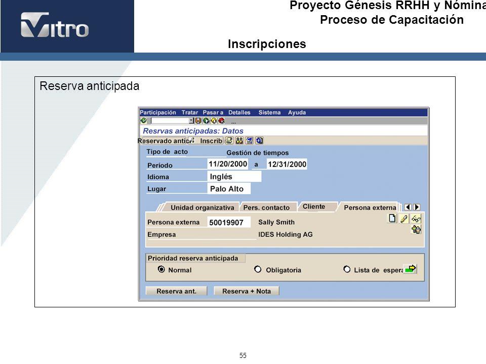 Proyecto Génesis RRHH y Nóminas Proceso de Capacitación 55 Reserva anticipada Inscripciones
