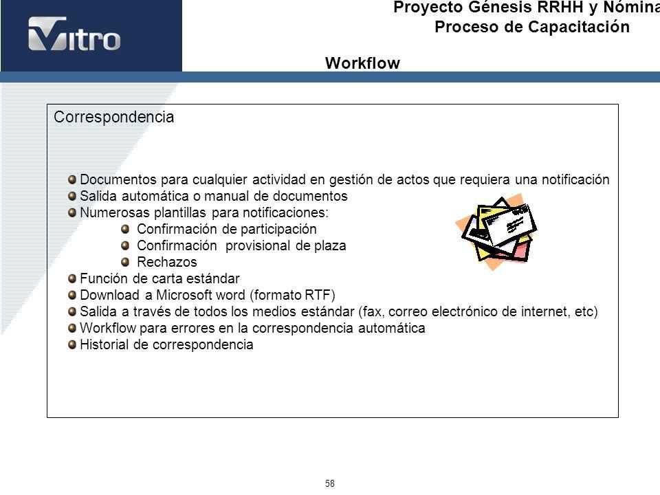 Proyecto Génesis RRHH y Nóminas Proceso de Capacitación 58 Correspondencia Documentos para cualquier actividad en gestión de actos que requiera una no