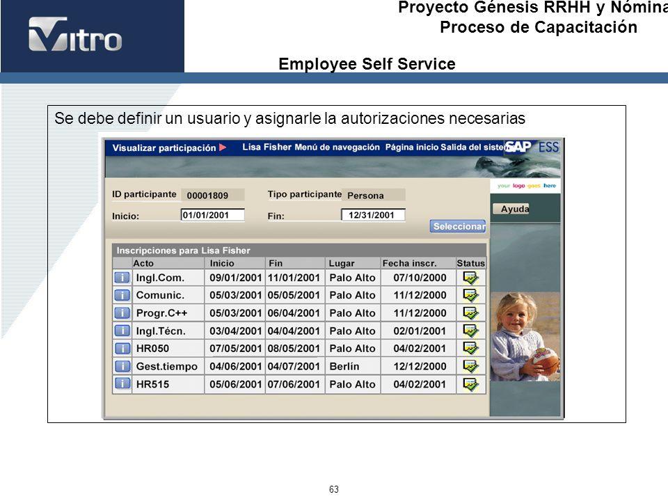 Proyecto Génesis RRHH y Nóminas Proceso de Capacitación 63 Se debe definir un usuario y asignarle la autorizaciones necesarias Employee Self Service