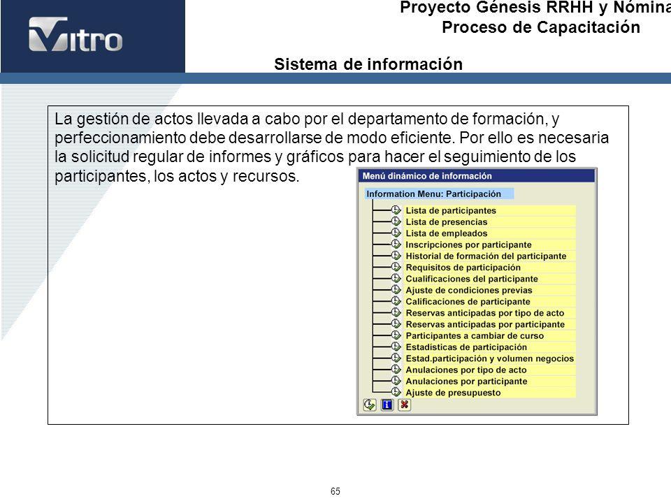Proyecto Génesis RRHH y Nóminas Proceso de Capacitación 65 La gestión de actos llevada a cabo por el departamento de formación, y perfeccionamiento de