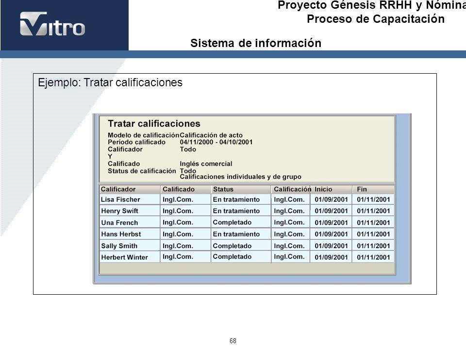 Proyecto Génesis RRHH y Nóminas Proceso de Capacitación 68 Ejemplo: Tratar calificaciones Sistema de información