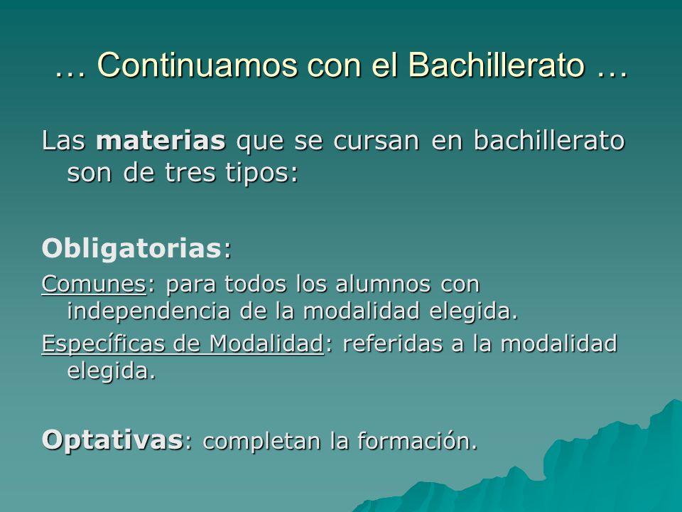 … Continuamos con el Bachillerato … Las materias que se cursan en bachillerato son de tres tipos: : Obligatorias: Comunes: para todos los alumnos con independencia de la modalidad elegida.