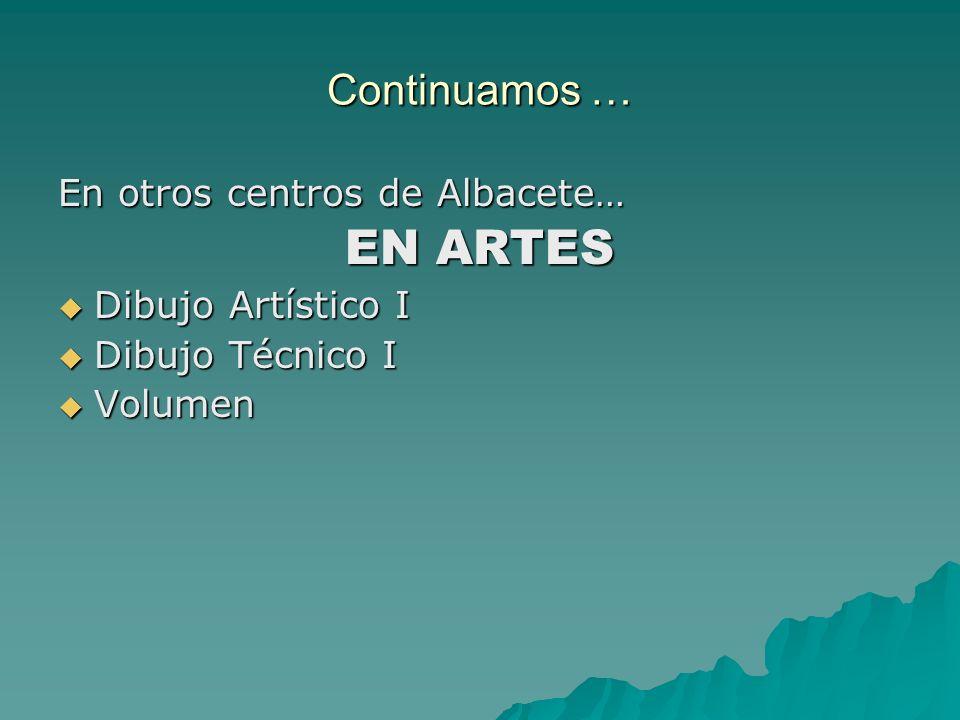 Continuamos … En otros centros de Albacete… EN ARTES Dibujo Artístico I Dibujo Artístico I Dibujo Técnico I Dibujo Técnico I Volumen Volumen