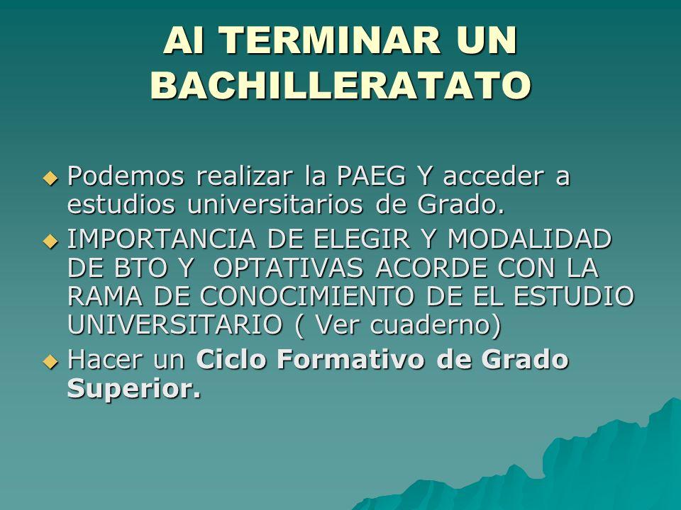 Al TERMINAR UN BACHILLERATATO Podemos realizar la PAEG Y acceder a estudios universitarios de Grado.