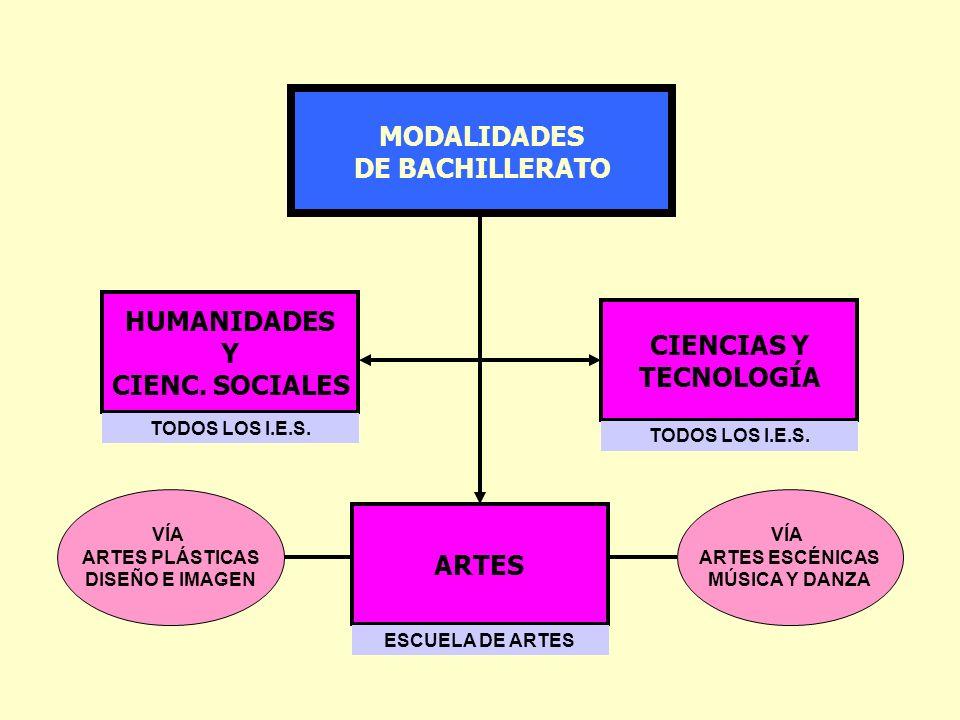 MODALIDADES DE BACHILLERATO HUMANIDADES Y CIENC. SOCIALES CIENCIAS Y TECNOLOGÍA ARTES VÍA ARTES PLÁSTICAS DISEÑO E IMAGEN VÍA ARTES ESCÉNICAS MÚSICA Y