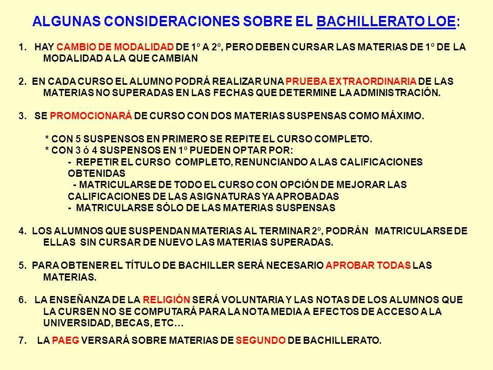 ALGUNAS CONSIDERACIONES SOBRE EL BACHILLERATO LOE: 1. HAY CAMBIO DE MODALIDAD DE 1º A 2º, PERO DEBEN CURSAR LAS MATERIAS DE 1º DE LA MODALIDAD A LA QU