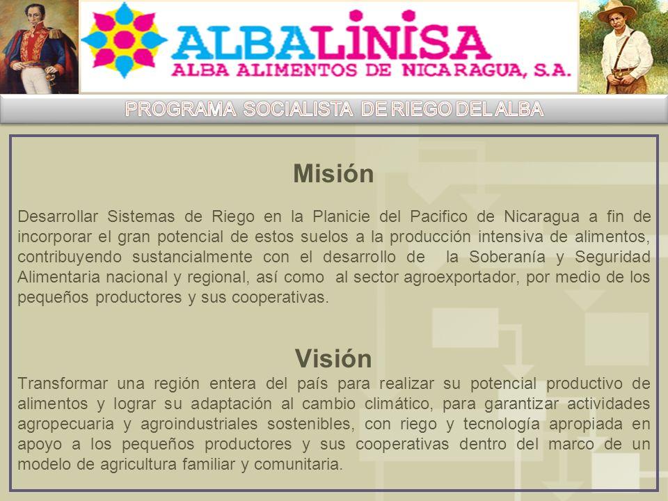 Misión Desarrollar Sistemas de Riego en la Planicie del Pacifico de Nicaragua a fin de incorporar el gran potencial de estos suelos a la producción intensiva de alimentos, contribuyendo sustancialmente con el desarrollo de la Soberanía y Seguridad Alimentaria nacional y regional, así como al sector agroexportador, por medio de los pequeños productores y sus cooperativas.