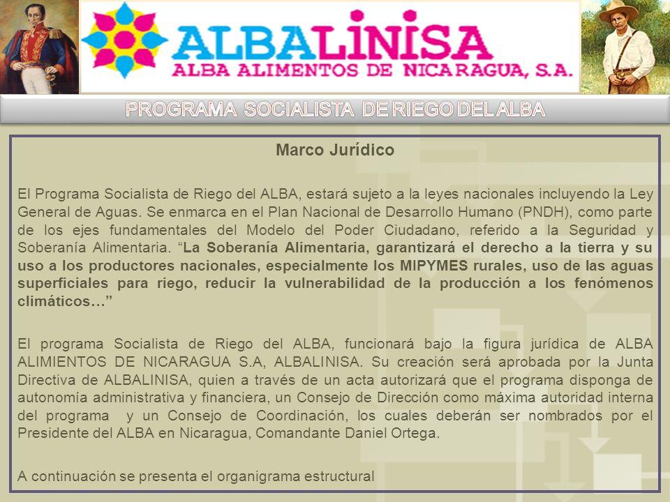 Marco Jurídico El Programa Socialista de Riego del ALBA, estará sujeto a la leyes nacionales incluyendo la Ley General de Aguas.