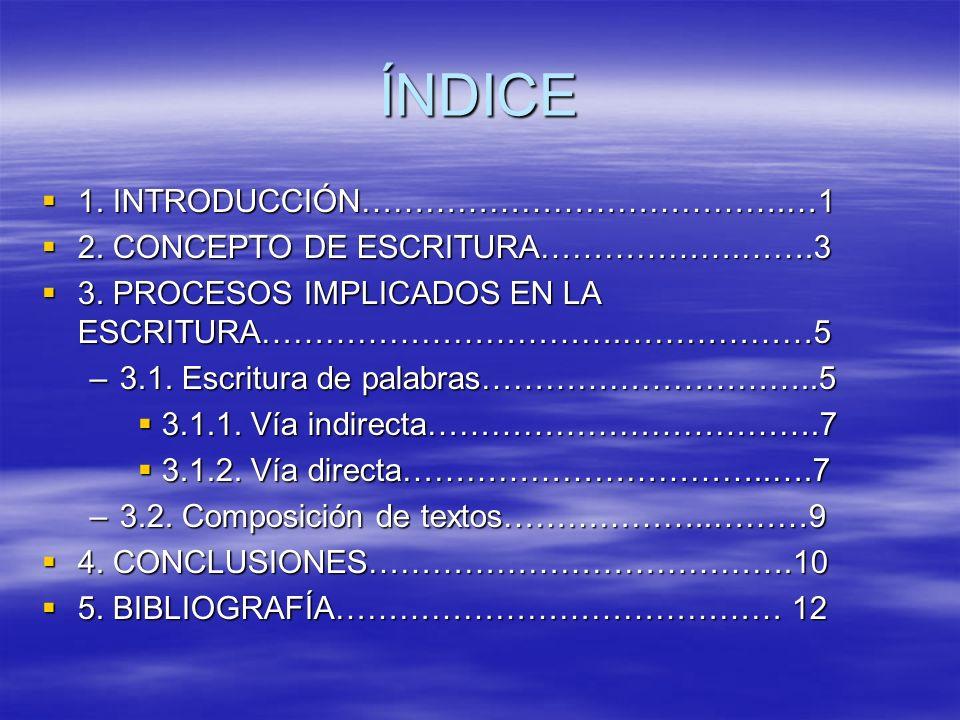 ÍNDICE 1. INTRODUCCIÓN………………………………….…1 1. INTRODUCCIÓN………………………………….…1 2. CONCEPTO DE ESCRITURA……………….…….3 2. CONCEPTO DE ESCRITURA……………….…….3 3. PROC